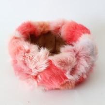Panier rose en fourrure de Lapin