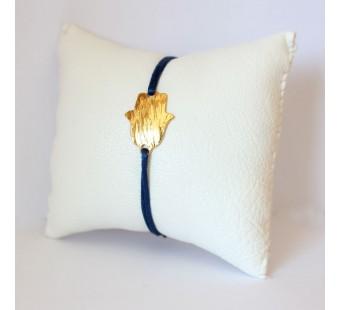 Bracelet bleu et Main de fatma en laiton doré