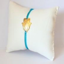 Bracelet Turquoise et Main de fatma en laiton doré