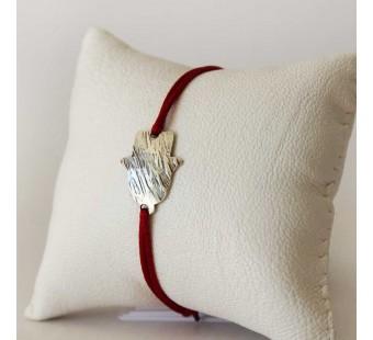 Bracelet Bordeau et Main de Fatma en laiton plaqué argent vieilli