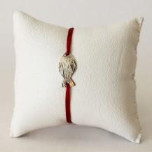 Bracelet Bordeau et Poisson en laiton plaqué argent vieilli