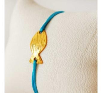 Bracelet turquoise et poisson en laiton doré