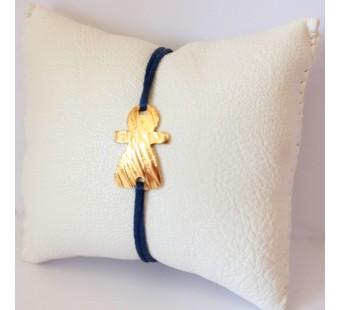 Bracelet bleu et Tanit en laiton doré