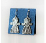 Earring Tanit Brass antique silver