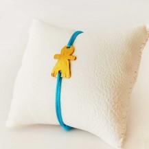 Bracelet Turquoise et Tanit en laiton doré