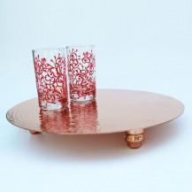 Plat de présentation en cuivre rouge martelé