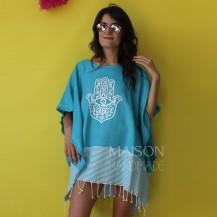 Poncho Turquoise White Khomssa