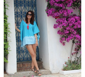 Poncho ZEENA Turquoise et rouge